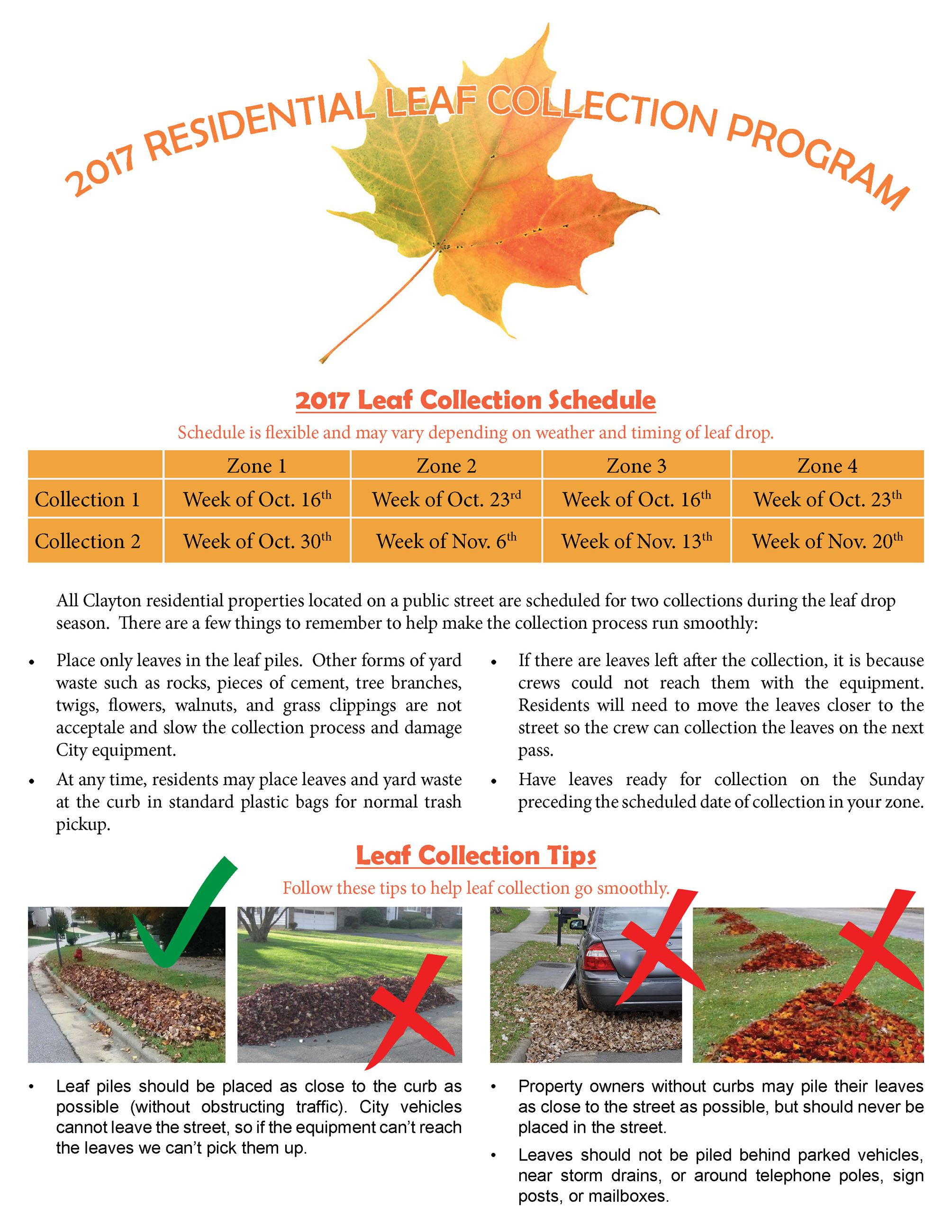 Leaf collection flyer