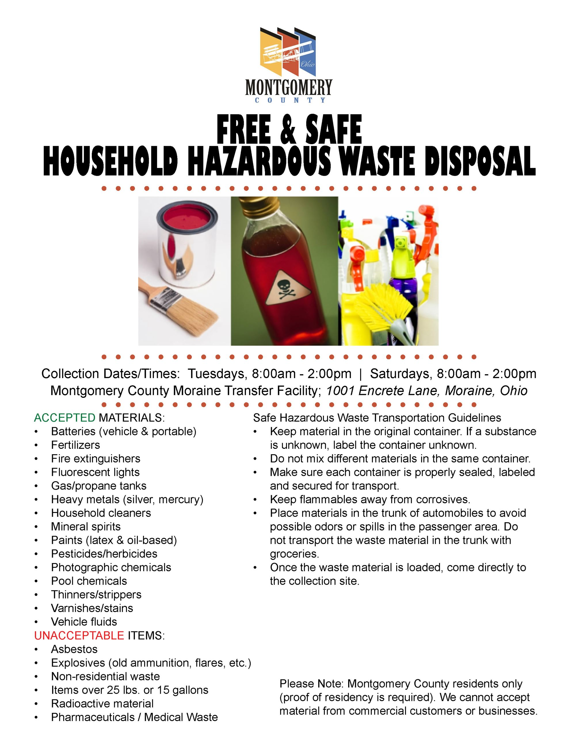 Clayton oh official website for Household hazardous waste facility design